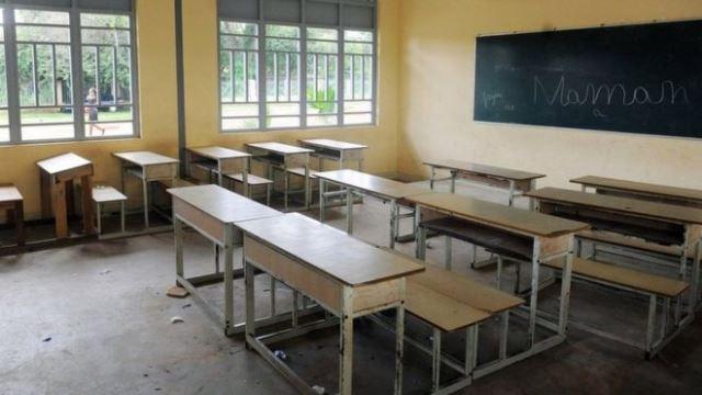 Empty school classroom in Nigeria.