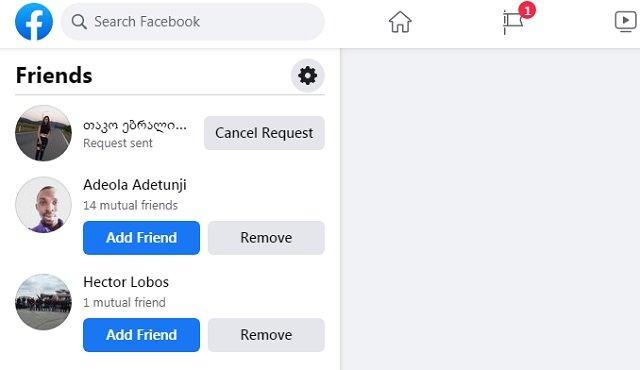 Facebook - Cancel friends request