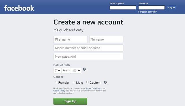 Facebook - Create an account