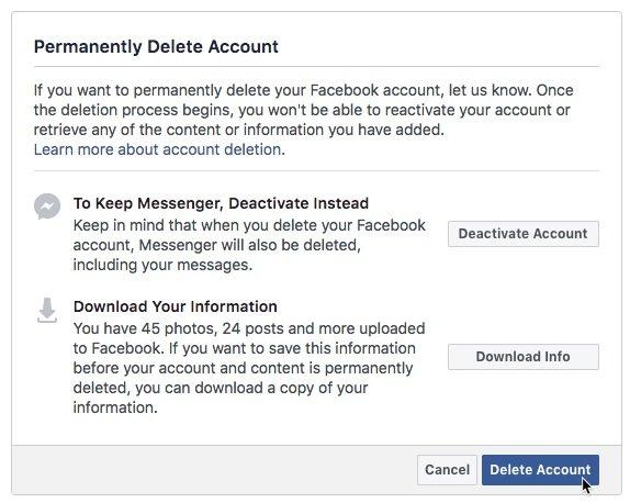 Facebook - Deactivate my account