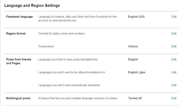 Facebook Language and Region settings