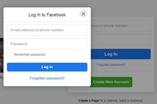 Facebook - Login page