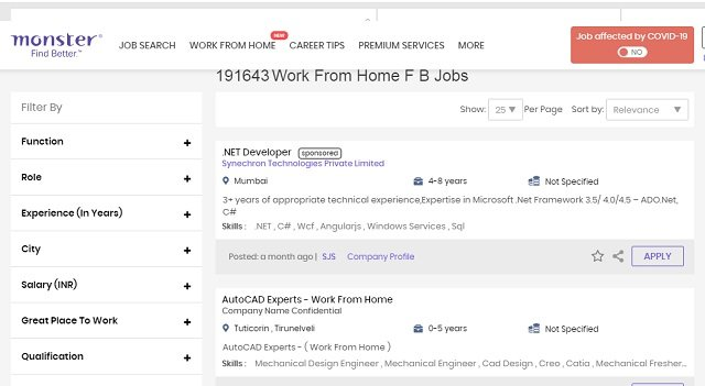 Remote 'Work from Home'Facebook Jobs showing specified details - duration, year of experience, job title and role and location